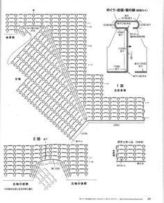 Lets knit series 2012 — Yandex. Crochet Diagram, Crochet Chart, Filet Crochet, Crochet Stitches Patterns, Knitting Stitches, Knitting Patterns, Crochet Jacket, Crochet Blouse, Pineapple Crochet
