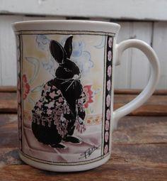 Otagiri Fancy Black Bunny Rabbit with Shawl Design The Edith Collection Mug Cup | eBay
