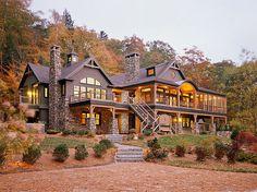 artofadesignermind: Extreme cabin with beautiful stone pillar bases