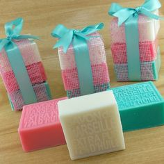 Cute little soaps wrapped up as a gift using the colors from a spring palette. Great spring soap design!