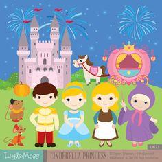Cinderella Princess Digital Clipart by LittleMoss on Etsy