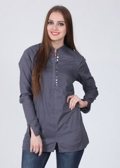 Mishka Solid Women's Tunic... Front buttoned wear... good for nursing mothers.