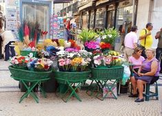 LISBON, PORTUGAL - Outdoor fresh flower market  There are many beautiful and cheap flowers at this market.