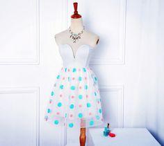 Polka Dot Embroidery White Bandeau Dress - $35.99  #partydressround2 #romwe