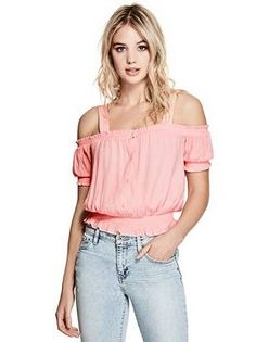 Delta Smocked Top at Guess Fashion Photo, Teen Fashion, Fashion Outfits, Womens Fashion, Guess Jeans, Sexy Dresses, Off Shoulder Blouse, Shirt Style, Clothes For Women