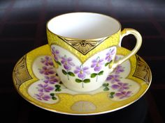 Lovely cup and saucer set by Boseck & Co. Porcelain Factory, Bohemia 1892-1934