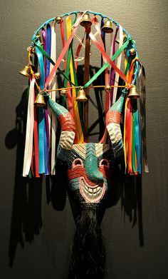 Mexican Mask From Hidalgo - This facinating mask was included in the Museo de Arte Popular's recent exhibition of the folk arts of the state of Hidalgo, Mexico - in the USA it is hard to imagine the current use of these dance masks but the dances are real & meaningful - for more on Mexico visit www.mainlymexican.com #Mexico #Mexican #mask