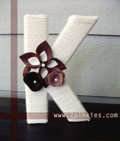 K made of yarn with flower embellishment-- would work for double A's! Yarn Wrapped Letters, Yarn Letters, Alphabet Letters, Letter Art, Bedroom Stuff, Wreath Ideas, Letters And Numbers, Monograms, Baby Ideas