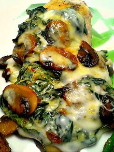 Smothered Chicken W/ Mushrooms and Spinach