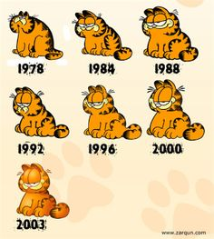 Garfield over the years. I love garfield