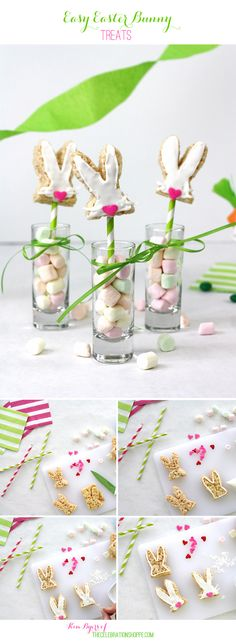 Easy Easter Bunny and Carrot Top Rice Krispie Easter Treats Recipe