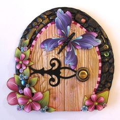 Fairy Door with a Purple Butterfly Pixie Portal Fairy by Claybykim