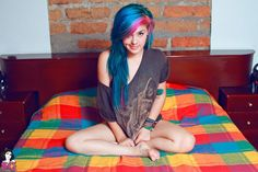 suicide girls / bright blue and pink hair <3