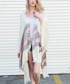 White & Gray Geometric Stripe Moroccan Kimono