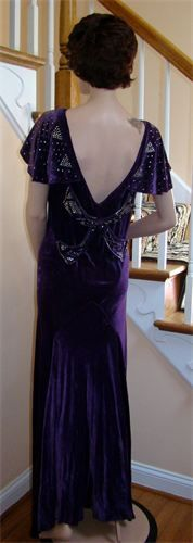 1930's DECO Bias Cut Royal Purple Silk Velvet Gown All the Drama is in the back!