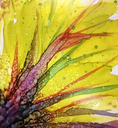 Untitled Foliage project, alcohol ink on yupo, (c) www.chrisblevinswatercolors.com