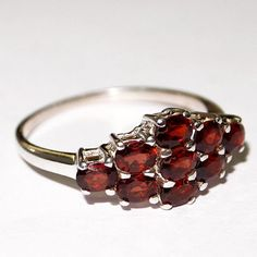"""925 STERLING SILVER GENUINE GARNET NEW RING SIZE 9"""" JEWELRY #Handmade #Solitaire"""