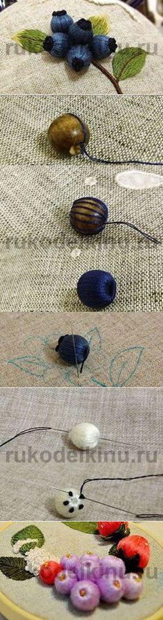 Как сделать объемные ягоды. Идея для вышивки. Мини мастер-класс. |