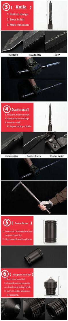 Outdoor Camping Self Defense Stick Safety Multi-Functional Defensive Protection Rod Survival Tool