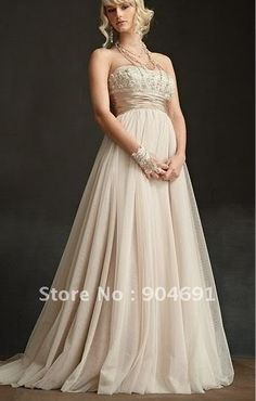 A-line Strapless Champagne Tulle Applique Beaded  Maternity Prom Dress Empire Waist Wedding Dress Pregnant Royal Bridal Gown on AliExpress.com. $149.00