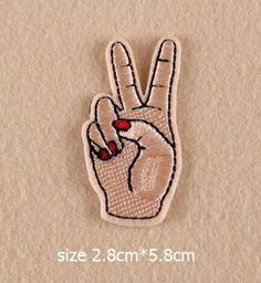 Red Nail Hand Eyes Patches Iron On