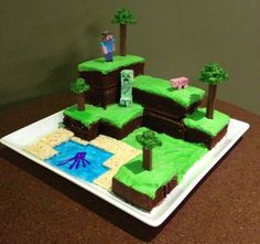 Minecraft cake-this is what my brother would want for his birthday!
