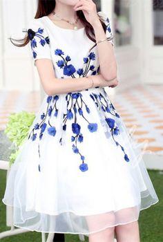 Elegant Jewel Neck Short Sleeve Embroidered Organza Dress For Women