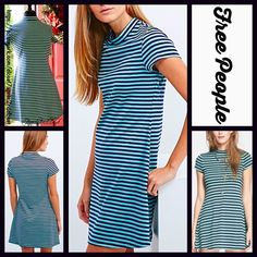 "FREE PEOPLE Striped Dress Mock Neck RETAIL: $88       NEW WITH TAGS   FREE PEOPLE Striped A Line Dress  * Lightweight, incredibly soft stretch-to-fit fabric  * Mock neck, short sleeves, & a fit-and-flare silhouette   * About 33"" long * Pullover style   Fabric: 78% polyester, 19% rayon, & 3% spandex; Machine Wash  Color: Navy Combo Item: 122700  No Trades ✅Offers Considered*/Bundle Discounts✅ *Please use the blue 'offer' button to submit an offer. Free People Dresses"