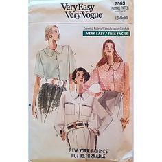 Misses Petite Blouse Vogue 7563 Pattern Vintage 1989 Size 6 8 10 c1434