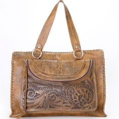 Leaders in Leather Vaquetta Tooled Tote with iPad Pocket  www.maverickstyle.net