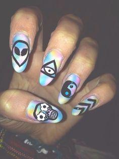 ❤ Nails. Alien. Galaxy. Tye-dye. Illuminati. Hipster.yin and yang. Sugar skull. Flower.