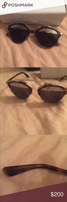 100% authentic Dior so real split sunglasses 100% Used authentic Dior so real split sunglasses mirrored silver, black and tortise shell frame and handle so if the writing are rubbing of because it is plastic in very good condition still selling on other site for 500- 650  comes with case only Dior Accessories Sunglasses