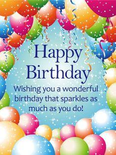 Birthday Quotes Sparkling Balloon Happy Card