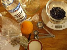 Measuring out the ingredients for homemade gin.