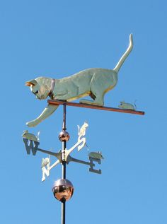 Cat Weathervane Playing with Mice on Directionals by West Coast Weathervanes.