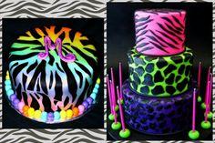 Neon animal print birthday cakes for tween or teen girls