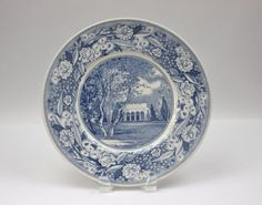 Pomona College Souvenir Plate ♥ See more at www.PeriodElegance.etsy.com  #vintagechina #pomonacollege #bluetransferware
