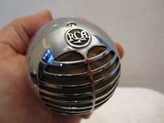 "VINTAGE 1940s NEAR MINT RCA BLACK MEATBALL CHROME "" BULLET "" OLD MICROPHONE 