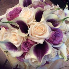 Calla and roses bridal bouquet
