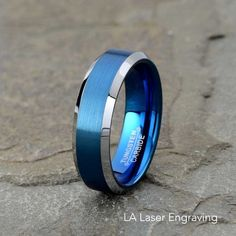 Cobalt Beveled Edge Satin And Polished 8mm Band Best Quality Free Gift Box