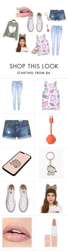"""""""PUSHEEN"""" by aviebob ❤ liked on Polyvore featuring Glamorous, Pusheen, AG Adriano Goldschmied, Native Union, Converse and Rimmel"""