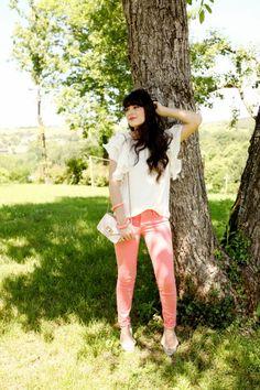 beautiful peach jeans