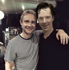 Benedict Cumberbatch & Martin Freeman Do you think Martin is on his toes or is Benedict crouching down a little!?