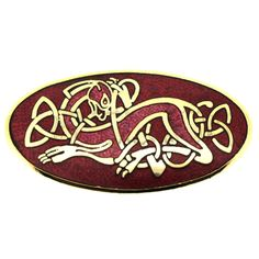 Oval Red Enamel & Gold Plated Celtic Dogs Brooch