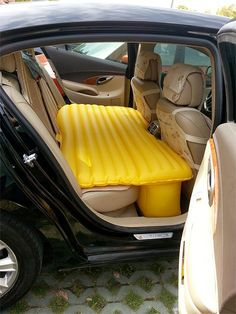 Inflatable mattress for your car will transform the back seat area into a small bedroom with comfortable bed. Forget about expensive hotels. Now you can take naps and sleep in your car when you go on a road trip. Inflatable Car Mattress. Takes minutes to set up. Folds for easy storage.