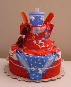 BABY SHOWER GIFT: Diaper Cake. (Love the swim suit, sunglasses, sunblock and brush!)