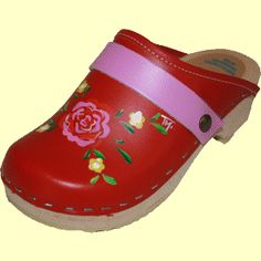 Red Matilda with Hot Pink, your choice of snap-strap, Tessa Clog