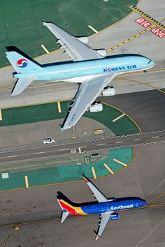 """airviation: """" Photo by Chris Hall """" Airbus A380 vs Boeing 737-800"""