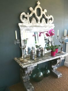 shabby Chic Rustic Console and Mirror | eBay