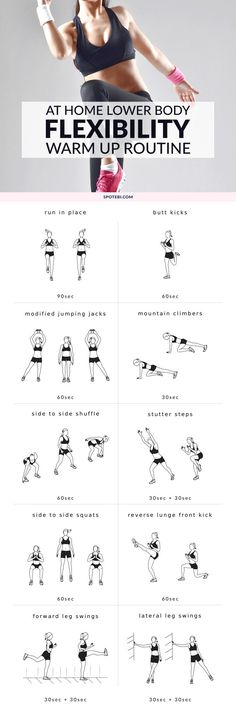 To prevent injury, improve exercise form and make your workouts more effective, it's important that you warm up properly before exercising. Try this set of dynamic warm up exercises next time you want to prepare your muscles, tendons and joints for additional strength training. http://www.spotebi.com/workout-routines/lower-body-dynamic-warm-up-exercises/
